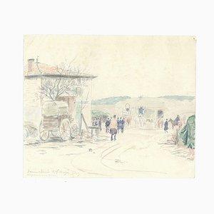 VII Prise de Mon Bureau - Origina Pencil Drawing a Watercolor 1914 1914