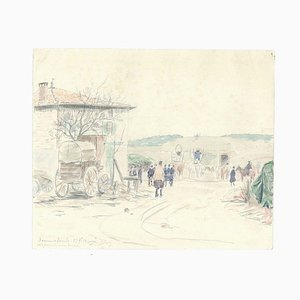 VII Prize de Mon Bureau - Origina Bleistift Aquarell 1914 1914 Zeichnung