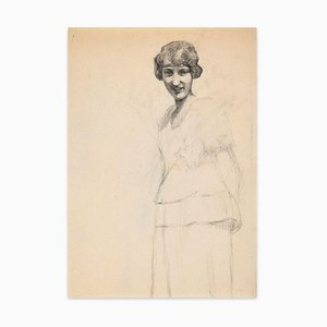Portrait of Smiling Girl - Original Charcoal Drawing by French Artist Early 1900 Early 20th Century