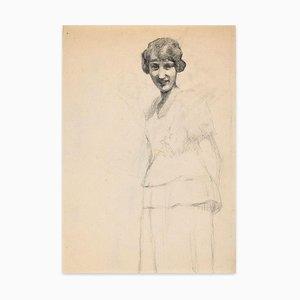 Portrait of Smiling Girl - Original Kohle Zeichnung von französischen Künstler frühen 1900 frühen 20. Jahrhundert