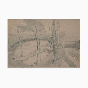 Bridge on the River - Charcoal and Pencil by E.-L. Minet - 1919 1919