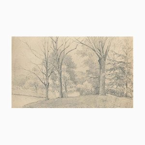 Trees on the Hill - Charcoal by E.-L. Minet - Early 1900 Early 20th Century