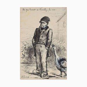 Un Gros Bonnet de Fuilly. Les Oioes - China Tuschezeichnung von AC Rodet - Mid 1800 Mid 19. Jahrhundert