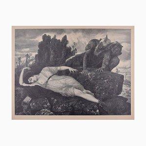 Schlafen Diana - Original Holzschnitt von JJ Weber - 1898 1898