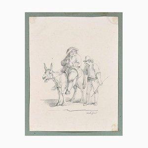Farmers - Original Ink Drawing 19th Century 19th Century