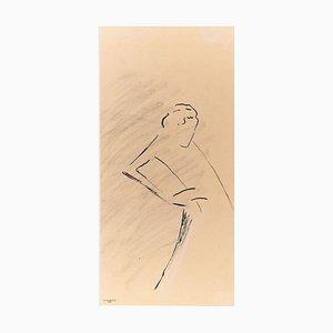 Le Manteau - Original China Ink Drawing by Flor David - 1952 1952