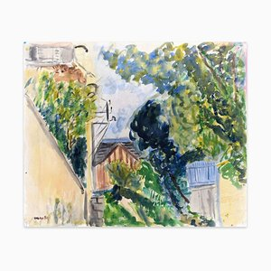 Outdoor View - Original Watercolor on Paper by Caroline Hill - 1970s 1970s