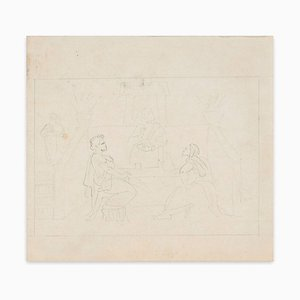 The Supper of Emmaus - Pencil Drawing by M. Dumas - 1850s 1850 ca.