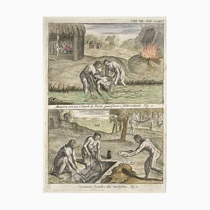 Pariah Way of healing fevered people and Funeral Ceremony - Etching by G. Pivati 1746-1751