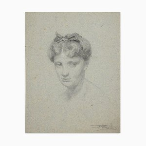 Portrait of Woman - Original Charcoal Drawing von Unknown French Artist - 1800 19. Jahrhundert