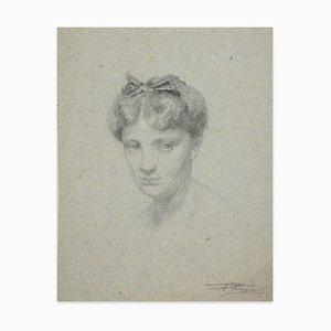 Retrato de mujer - Dibujo original de carboncillo de artista francés desconocido - Siglo XIX, siglo XIX