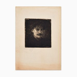 Portrait of Young Man - Original Etching by E. Van Offel - Early 20th Century Early 20th Century