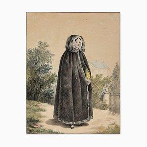 Portrait of Young Woman - Tusche, Bleistift & Pastell Zeichnung von Französischem Künstler 1800 19. Jahrhundert