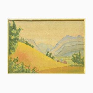 Paisaje montañoso - Acuarela original sobre cartulina de M. Carion - años 30