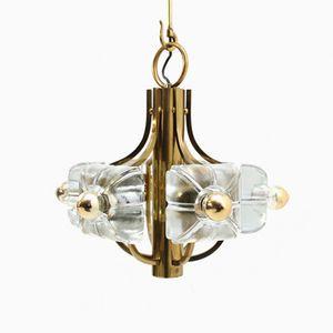Brass & Ice Glass Ceiling Light with Mazzega Glass from Kalmar, 1970s