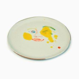 Yellow Stains - Original Hand-made Flat Ceramic Dish by A. Kurakina - 2019 2019