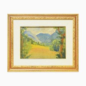 Montagne blu - Acquarello originale su pannello di Marius Carion - 1931 1931