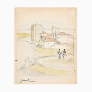 Landscape - Original Pencil and Watercolor by E.C. Jodelet - Mid 20th Century Mid 20th Century