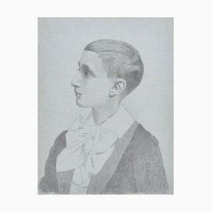 Schoolchild - Original Pencil Drawing by French Artist Early 20th Century Early 20th Century