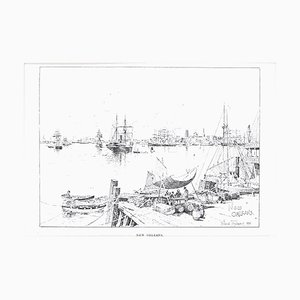 Port of New Orleans - Original Lithograph by J.H. Tringham - 1890 1890