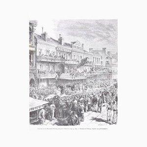 Un jour d'élection - Original Lithograph by H.-T. Hildibrand - 1880 1880