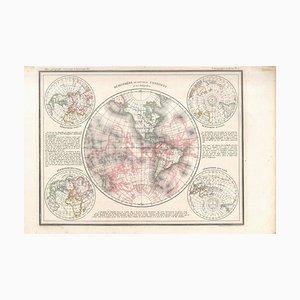 Hémisphère du Nouveau Continent - Carte Antique par JG Heck - 1834. 1834