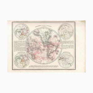 Hemisphere Of The New Continent - Ancient Map by J.G. Heck - 1834. 1834