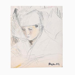 Portrait of Boy - Pencil and Pastel on Paper by J. Dreyfus-Stern 1930s