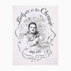 Balzac et les Chouans - Original Ink Drawing by A. Huertas - 1979 1979