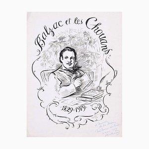 Balzac et les Chouans - Original Tuschezeichnung von A. Huertas - 1979 1979