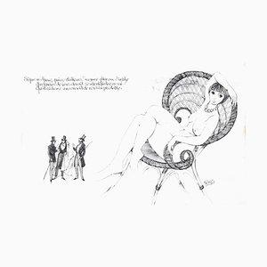 La sommet de l'Homme au Sable - Original China Ink on Paper by M. King Late 1900