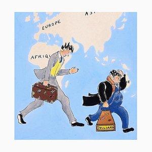 The Globe - Original Tempera on Paper y J.-F. Julliard - Mid 20th Century Mid 20th Century