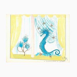 Seepferdchen - Original Tempera auf Papier von Esy Beluzzi - 1959 1959