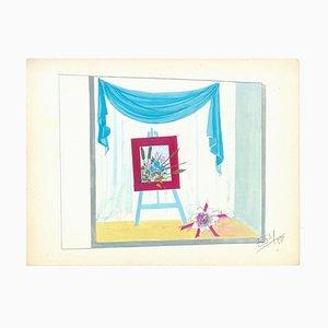 Atelier - Original Tempera auf Papier von Esy Beluzzi - 1958 1958