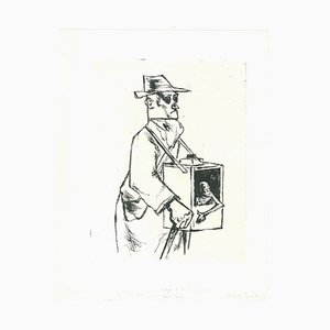 Blind Man - Original Etching by A. Ruellan - Mid 20th Century Mid 20th Century