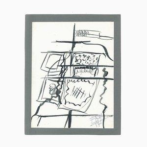 The Gate - Original Tempera on Paper by Esy Beluzzi - 1957 1957