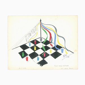 Chessboard - Original Tempera on Paper by Esy Beluzzi - 1956 1956