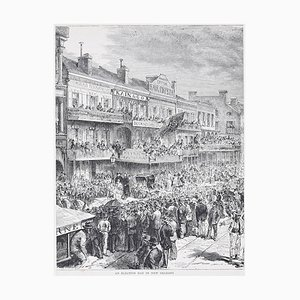 An Election Day in New Orleans - Original Lithograph by H.-T. Hildibrand - 1880 1880