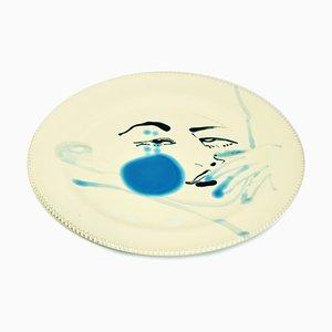 Blue Stain - Original Hand-made Flat Ceramic Dish by A. Kurakina - 2019 2019