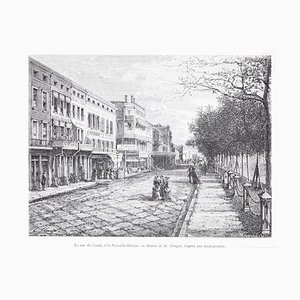 La Rue du Canal - View of New Orleans - Woodcut Print After Hubert Clerge - 1880 1880