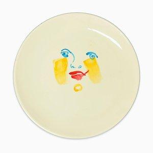 Yellow Brush - Original Hand-made Flat Ceramic Dish by A. Kurakina - 2019 2019