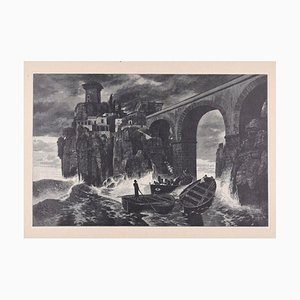 Pirates attack the Castle on the Sea - Original Woodcut by J.J. Weber - 1898 1898