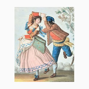 The Dance - Original Ink and Watercolor by Unknown Artist 19th Century 19th Century