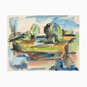 Landscape - Original Watercolor on Paper by D. Callé - Mid 20th Century Mid 20th Century