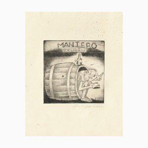 Ex Libris Mantero - Original Radierung von M. Fingesten - 1930er Jahre