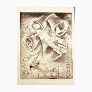 Ex Libris Frohes Neues Jahr 1938 - Original Radierung von M. Fingesten 1937/38