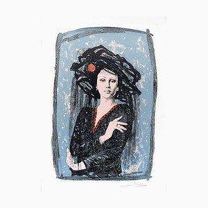 Lithographie The Actress - Original par Mario Russo - 1988 1988