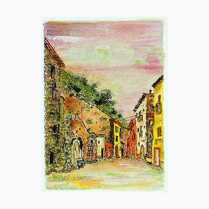 Sunset in the Alleys - Gravure à l'Eau-Forte et Aquarelle par G. Omiccioli 1970 ca.