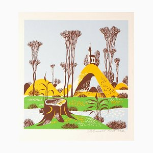 Landscape - Original Screen Print by T.P. Rvat - 1974 1974