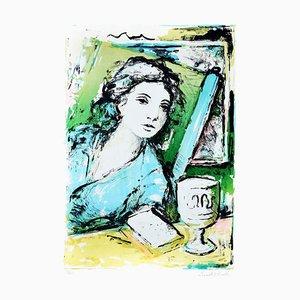Woman - Original Lithografie von Ernesto Piccolo - 1980er 1980s